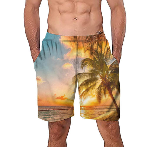 Men Casual 3D Tree Printed Short Pant
