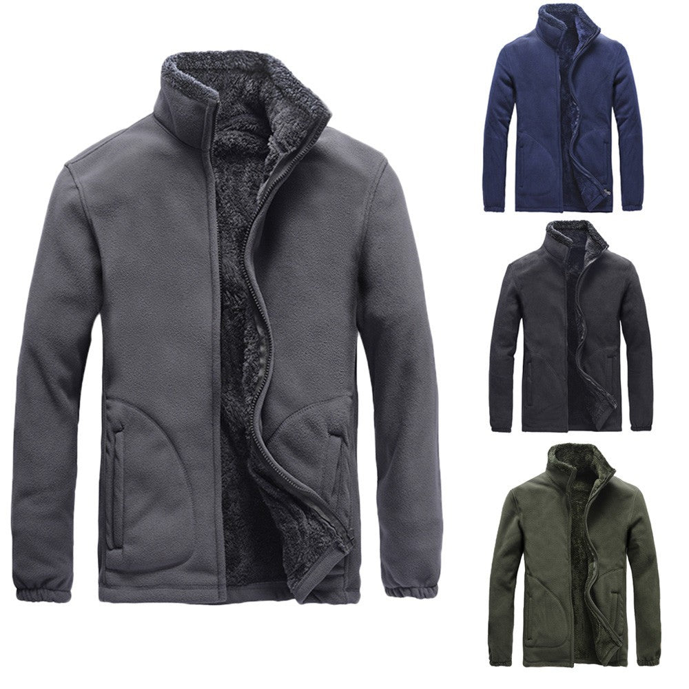 Men's Autumn Winter Casual Long Sleeve Solid Fluffy Thicken Windproof Jacket