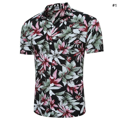 Men Short Sleeve Shirts Slim Fit