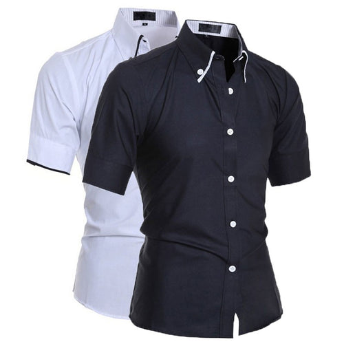 Men Luxury Short Sleeve Shirt Slim Fit