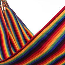 Load image into Gallery viewer, Two Person Hammock - Pride Rainbow Close Up Image