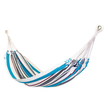 Load image into Gallery viewer, Cotton Two Person Hammock - Blue Grey And Red Main Image