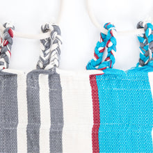 Load image into Gallery viewer, Cotton Two Person Hammock - Blue Grey And Red Plaits Image