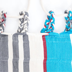 Cotton Two Person Hammock - Blue Grey And Red Plaits Image