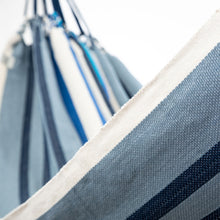 Load image into Gallery viewer, Cotton Family Sized Hammock - Blue And Grey Close Up Image