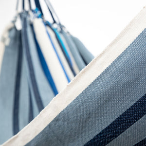 Cotton Family Sized Hammock - Blue And Grey Close Up Image