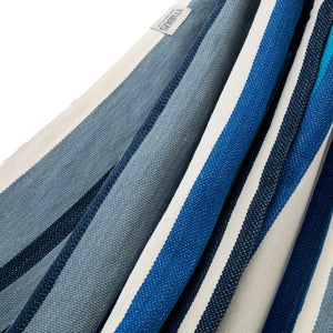 Cotton Family Sized Hammock - Blue And Grey Fabric Image