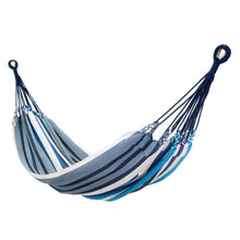 Load image into Gallery viewer, Cotton Family Sized Hammock - Blue And Grey Main Image