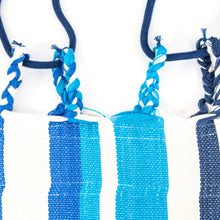 Load image into Gallery viewer, Cotton Family Sized Hammock - Blue And Grey Plaits Image