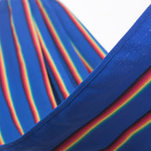 Load image into Gallery viewer, Two Person Hammock - Blue Rainbow Close Up Image