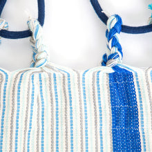 Load image into Gallery viewer, Cotton Kids Sized Hammock - Blue And Grey Plaits Image