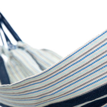 Load image into Gallery viewer, Cotton Kids Sized Hammock - Blue And Grey Close up Image