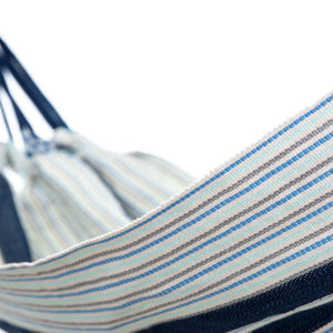 Cotton Kids Sized Hammock - Blue And Grey Close up Image