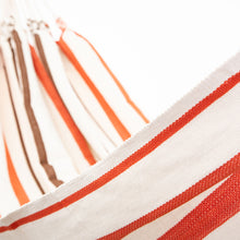 Load image into Gallery viewer, Cotton Family Sized Hammock - Brown And Orange Close Up Image