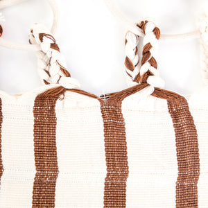 Cotton Family Sized Hammock - Brown And Orange Plaits Image
