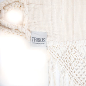Cotton Family Sized Hammock With Macrame - Cream Label Image