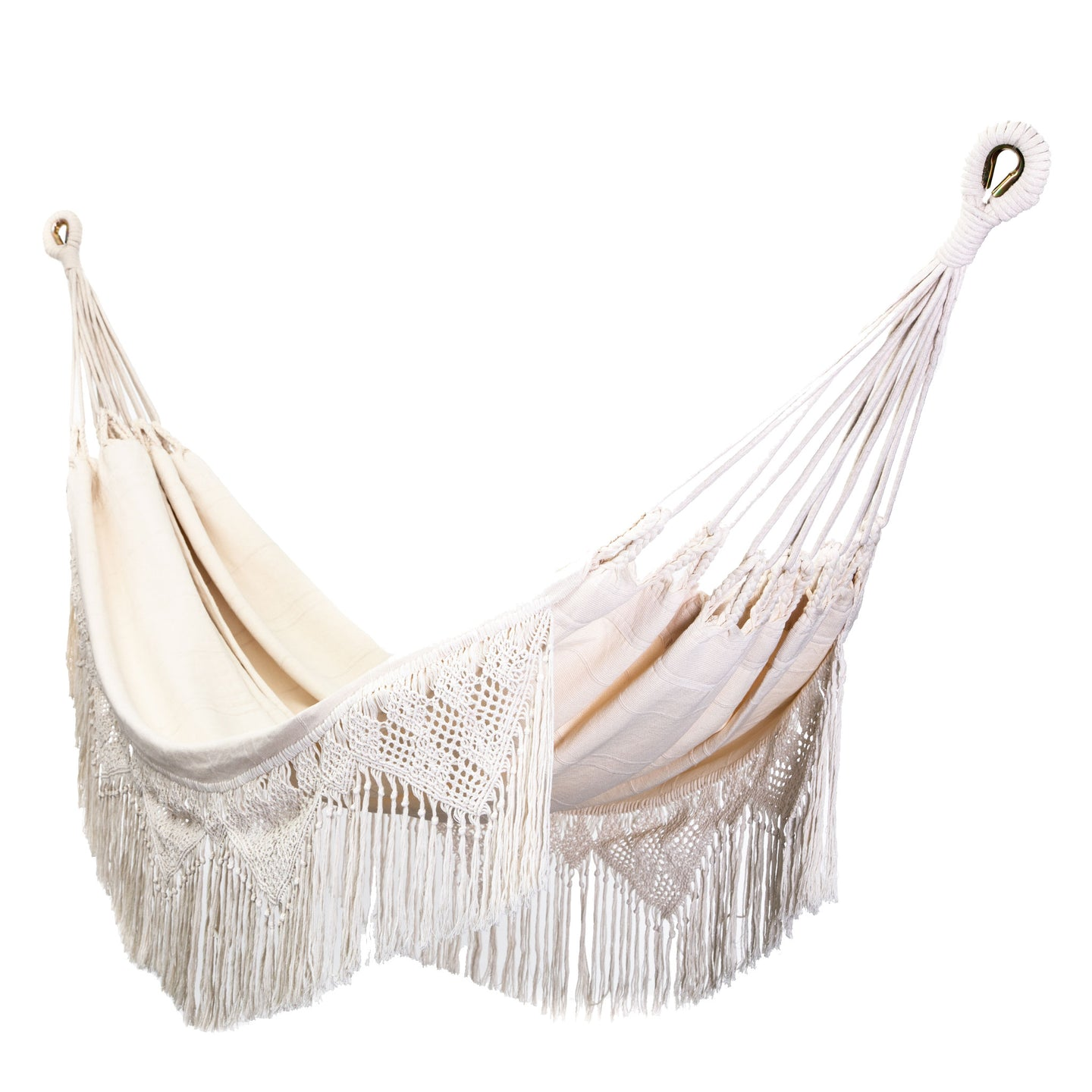 Cotton Family Sized Hammock With Macrame - Cream Main Image