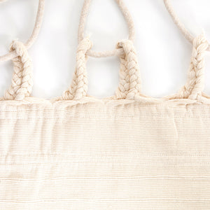 Cotton Family Sized Hammock With Macrame - Cream Plaits Image
