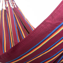 Load image into Gallery viewer, Two Person Hammock - Dark Red Rainbow Close Up Image