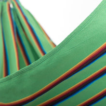 Load image into Gallery viewer, Two Person Hammock - Light Green Rainbow Close Up Image