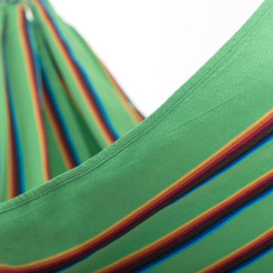 Two Person Hammock - Light Green Rainbow Close Up Image