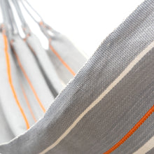 Load image into Gallery viewer, Cotton Family Sized Hammock - Grey And Orange Close Up Image