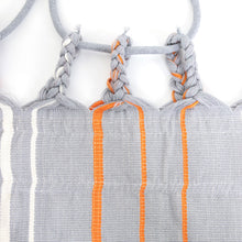 Load image into Gallery viewer, Cotton Family Sized Hammock - Grey And Orange Plait Image