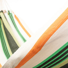 Load image into Gallery viewer, Cotton Family Sized Hammock - Green And Orange Close Up Image