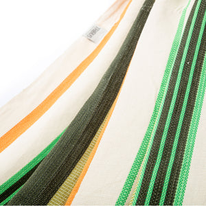 Cotton Family Sized Hammock - Green And Orange Fabric Image