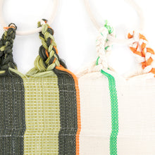 Load image into Gallery viewer, Cotton Family Sized Hammock - Green And Orange Plaits Image