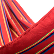 Load image into Gallery viewer, Two Person Hammock - Red Rainbow Close Up Image