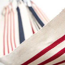 Load image into Gallery viewer, Cotton Two Person Hammock - Red White And Blue Close Up Image