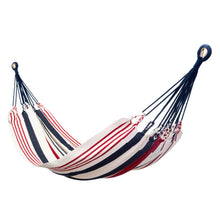 Load image into Gallery viewer, Cotton Two Person Hammock - Red White And Blue Main Image