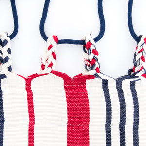 Cotton Two Person Hammock - Red White And Blue Plaits Image