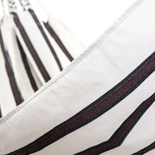Load image into Gallery viewer, Two Person Hammock - White With Brown Stripes Close Up Image