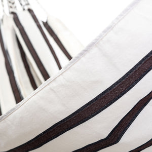 Two Person Hammock - White With Brown Stripes Close Up Image