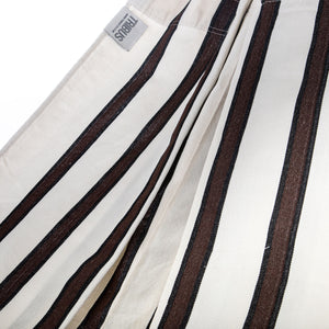 Two Person Hammock - White With Brown Stripes Fabric Image