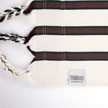 Load image into Gallery viewer, Two Person Hammock - White With Brown Stripes Label Image