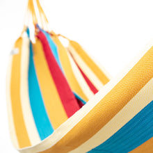 Load image into Gallery viewer, Cotton Two Person Hammock - Red Yellow And Blue Close Up Image