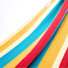 Load image into Gallery viewer, Cotton Two Person Hammock - Red Yellow And Blue Fabric Image