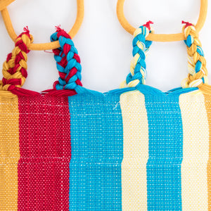 Cotton Two Person Hammock - Red Yellow And Blue Plaits Image