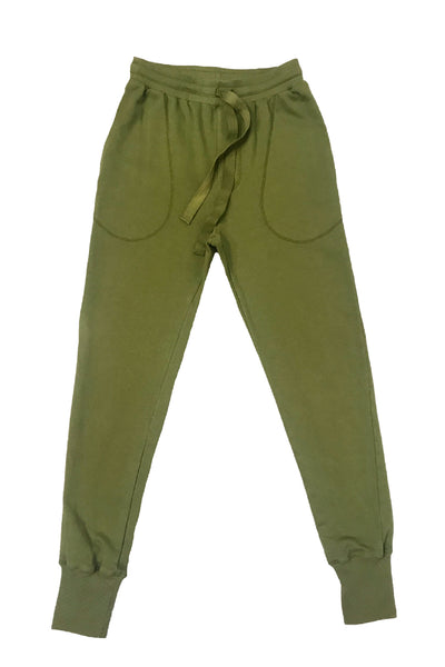Womens cotton slouch sweatpants in khaki