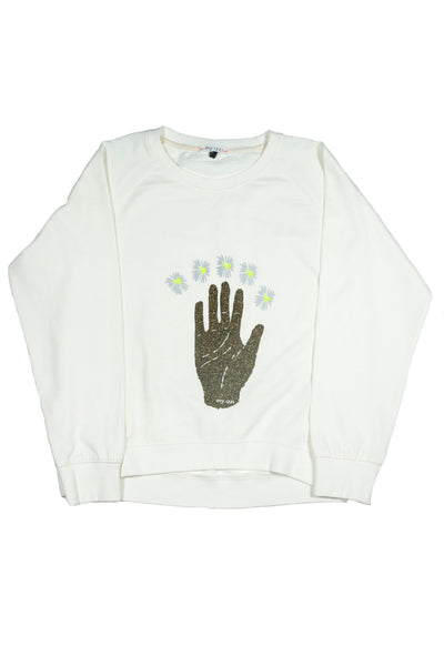 A flat lay image of the Belle Sweatshirt in egg white.
