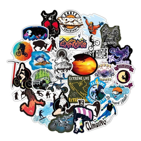 50 Pcs Extreme Sports WATERPROOF Stickers