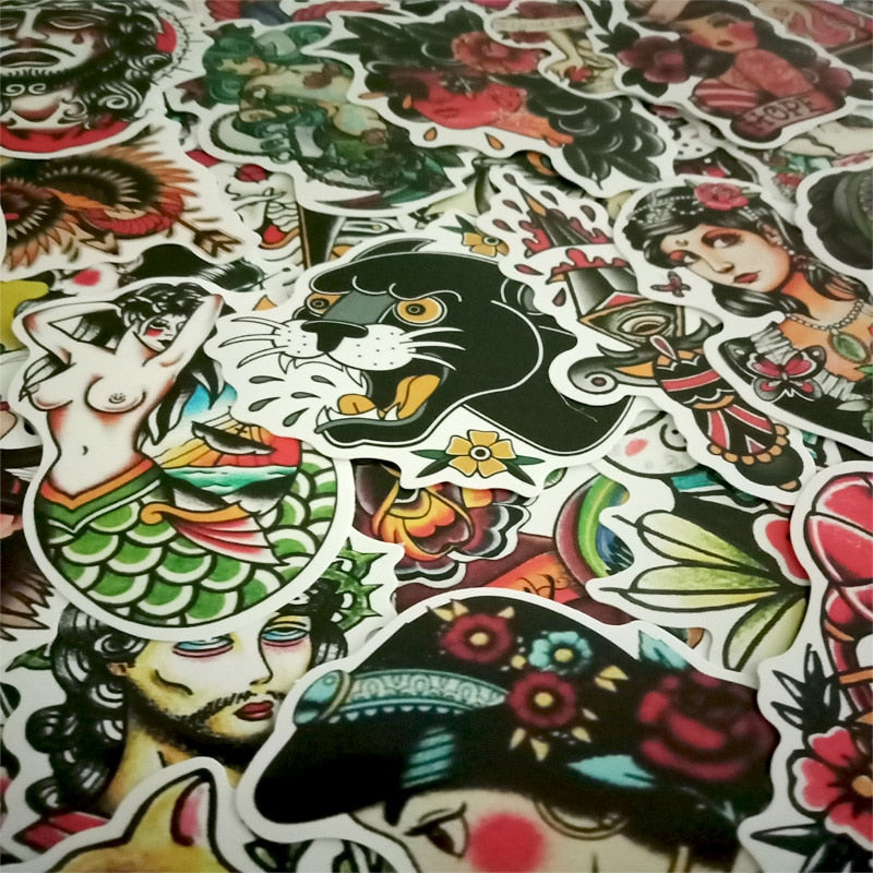 50 Pcs Old School Waterproof Sticker