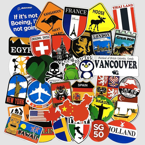 36 Pcs World/Travel Sticker