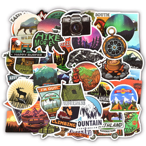 50 PCS Camping-Adventure Waterproof Stickers