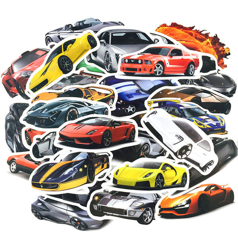 50 pcs Cool Sports Car Waterproof Stickers