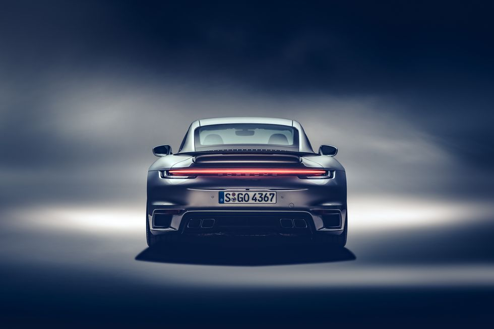 2021 Porsche 992 Turbo S Rear Angle