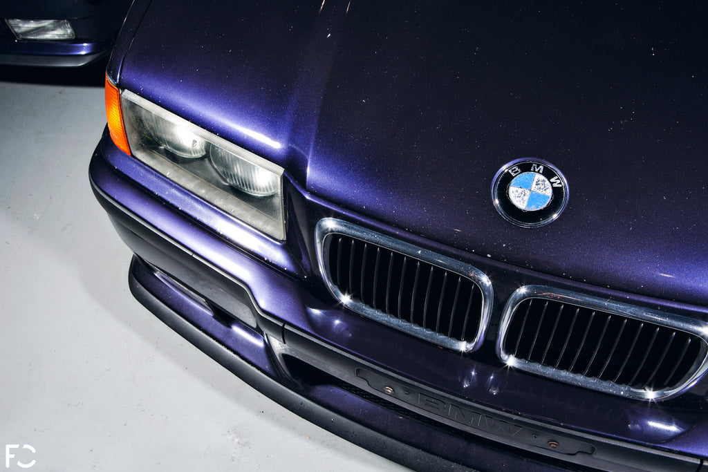 Techno Violet E36 M3 with worn kidney grilles and roundel